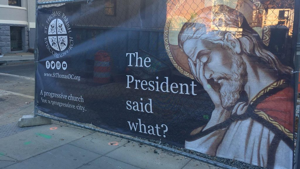 church sign saying showing Jesus with his head in his hands saying, the president said what?