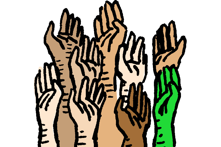 Illustration of hands raised to ask questions