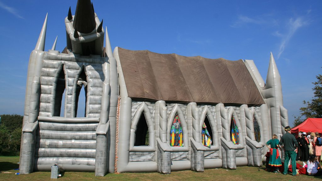 Photo of the inflatable church at Bestival, Isle of Wight