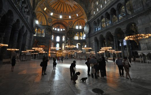 Interior of Hagia Sophia with girl and cat